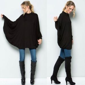 DYLAN Poncho Style Tunic Top - BLACK